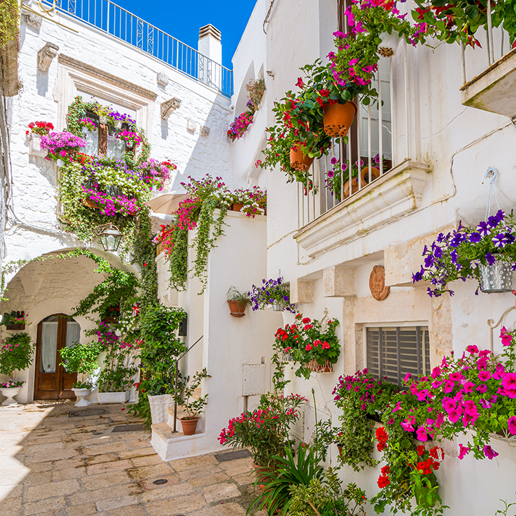 Romantic glimpse of a street in the center of Ostuni in Salento, Apulia